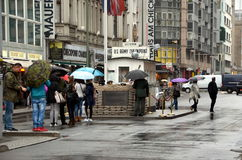 Checkpoint Charlie in Berlin. BERLIN, GERMANY - OCT 11, 2016 - Checkpoint Charlie: this was the name given by the Western Allies to the best-known Wall crossing royalty free stock photos