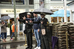 Checkpoint Charlie  In Berlin Germany in the pouring rain Royalty Free Stock Images