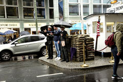 Checkpoint Charlie  In Berlin Germany in the pouring rain Stock Photos