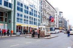 Checkpoint Charlie, BERLIN, NIEMCY Zdjęcia Royalty Free