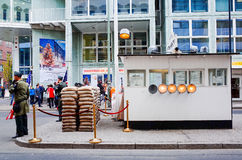 Checkpoint Charlie, BERLIN, NIEMCY Obrazy Royalty Free