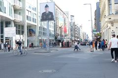 Checkpoint Charlie Berlin with People stock photos
