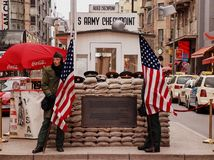 Checkpoint Charlie. Crossing point between West and East Berlin royalty free stock photography