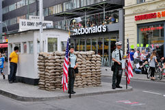Checkpoint Charlie, Germany. Checkpoint Charlie in Berlin, Germany. The place marks the former border between East and West Berlin stock photos