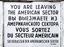 Checkpoint Charlie historical sign Royalty Free Stock Photo