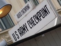 Checkpoint Charlie sign, Berlin, Germany Stock Photo