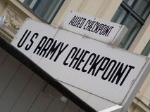 Checkpoint Charlie sign, Berlin, Germany Royalty Free Stock Images