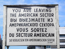 Checkpoint Charlie. Sign in four languages at Checkpoint Charlie, Berlin royalty free stock photo