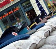 Checkpoint Charlie with  Soviet military caps on sandbags. Berlin, Germany Royalty Free Stock Image