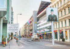 Checkpoint Charlie touristic attraction in Berlin Stock Photos