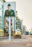 Checkpoint Charlie touristic attraction in Berlin Royalty Free Stock Images