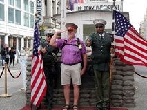Checkpoint Charlie in the middle of Berlin Germany stock photo