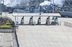 Checkpoint machinery. In the port stock images