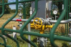 Checkpoint pipeline, pressure measurements and flow of natural gas. Closeup of pressure meter on natural gas pipeline. Stock Photography