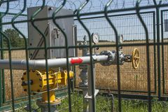 Checkpoint pipeline, pressure measurements and flow of natural gas. Closeup of pressure meter on natural gas pipeline. Royalty Free Stock Photo