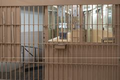 Checkpoint in the prison. Checkpoint in the entrance to prison with bars, cell, jail, corridor, penitentiary, justice, criminal, old, building, crime, interior stock image