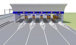 Checkpoint on the road. Empty checkpoint on the road. 3d rendering vector illustration