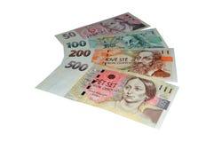 Checo corona billetes de banco Fotografía de archivo libre de regalías