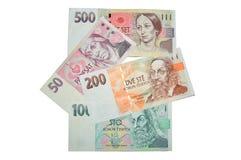 Checo corona moneda de los billetes de banco Fotografía de archivo