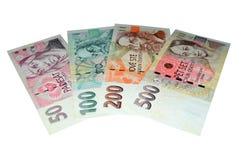 Checo corona serie de los billetes de banco Fotos de archivo