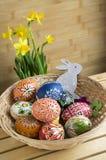Checo feito a mão caseiro pintou os ovos e o coelho de madeira, pseudonarcissus amarelo do narciso na flor Fotos de Stock