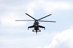 Checo Mil Mi - 24 helicópteros de ataque traseros Fotografía de archivo libre de regalías