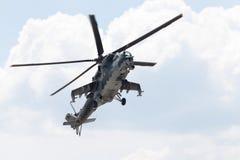 Checo Mil Mi - 24 helicópteros de ataque traseros Foto de archivo libre de regalías