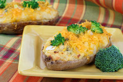 Cheddar Broccoli Baked Potato Stock Photos