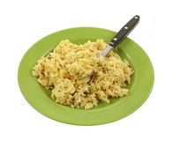 Cheddar Broccoli Rice Cooked Green Plate royalty free stock photo