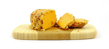 Cheddar Cheese Almonds and Slices Stock Image