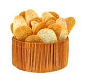 Cheddar Cheese and Bacon Chips in Basket Stock Images