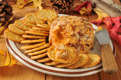 Cheddar cheese ball with crackers Royalty Free Stock Images
