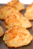 Cheddar cheese biscuits on a cookie sheet Royalty Free Stock Photography