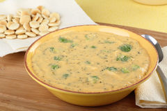 Cheddar Cheese and Broccoli Soup Stock Photo