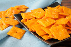 Cheddar cheese crackers Stock Images