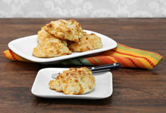 Cheddar cheese and garlic biscuit on a plate. Stock Photography