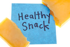 Cheddar Cheese with Healthy Snack Message Royalty Free Stock Images