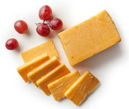Cheddar cheese isolated on white background Royalty Free Stock Photo