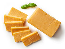 Cheddar cheese isolated on white background Royalty Free Stock Photos
