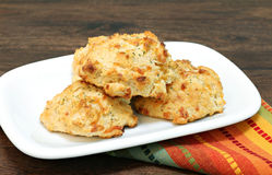 Cheddar cheese, parsley and garlic biscuits. Royalty Free Stock Photography