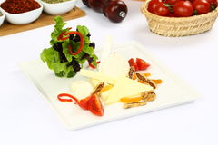 Cheddar cheese on plate Royalty Free Stock Photography