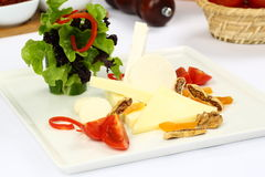 Cheddar cheese on plate Royalty Free Stock Images
