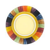 Cheddar cheese soup in colorful bowl Royalty Free Stock Image