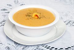 Cheddar Cheese Soup With Garnish Stock Images