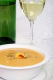 Cheddar cheese soup with white wine Stock Images