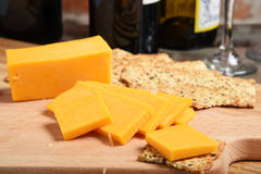 Cheddar cheese and wine Royalty Free Stock Photos