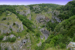Cheddar Gorge. Looking down from the Mendips on to the road through Cheddar Gorge Stock Photos
