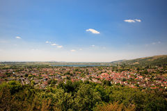 View of Cheddar reservoir and town. Somerset (county in England), England Royalty Free Stock Images