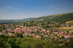 View of Cheddar reservoir and town Royalty Free Stock Image
