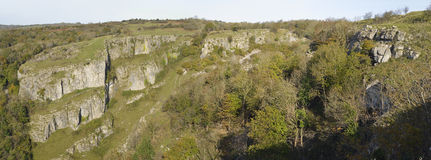 Cheddar Gorge. Panorama viewed from Cheddar Cliffs Stock Photo